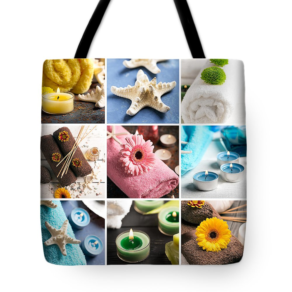 Vadim Goodwill Tote Bag featuring the photograph Spa Still Life Collage With Towel, Candles And Flowers by Vadim Goodwill