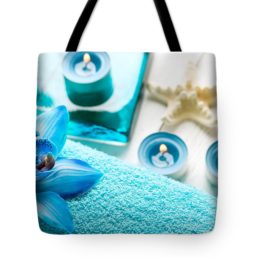 Vadim Goodwill Tote Bag featuring the photograph Spa Still Life With Towel And Candles by Vadim Goodwill