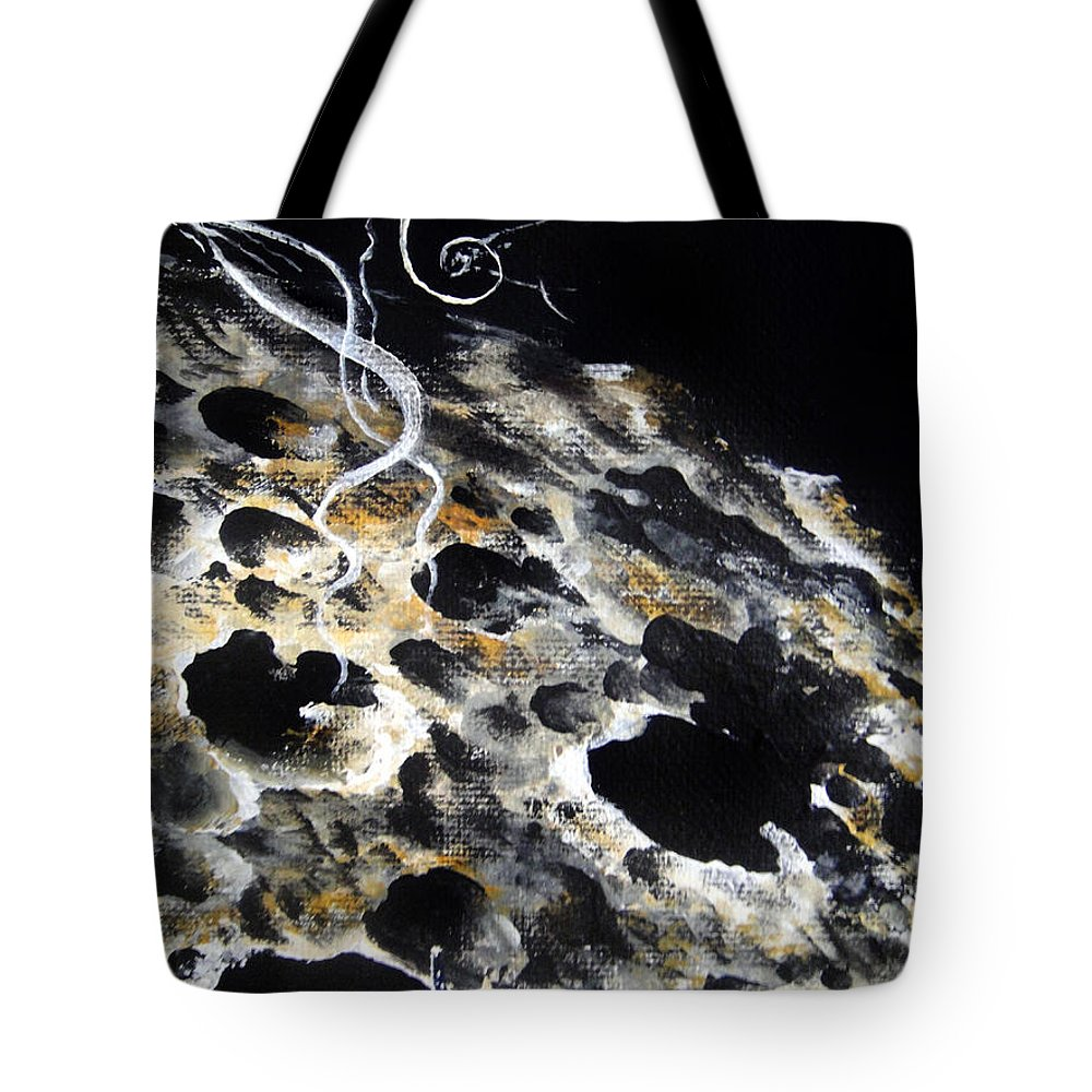 Space Tote Bag featuring the painting Space Art. Moon And Us Flag by Sofia Metal Queen
