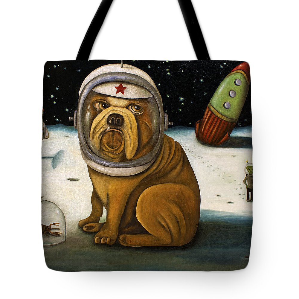 Rocket Tote Bag featuring the painting Space Crash by Leah Saulnier The Painting Maniac