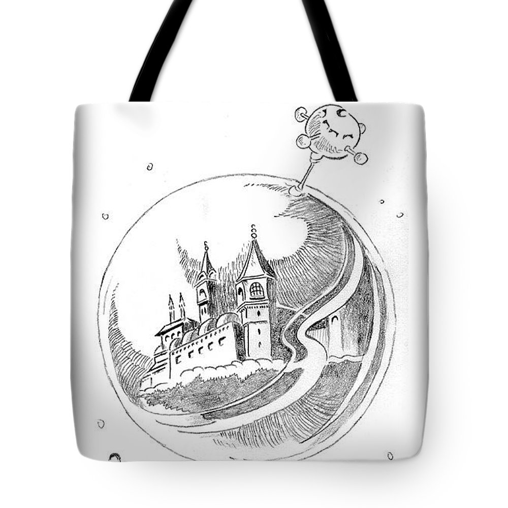 Space Tote Bag featuring the drawing Space by Ersin Ipek