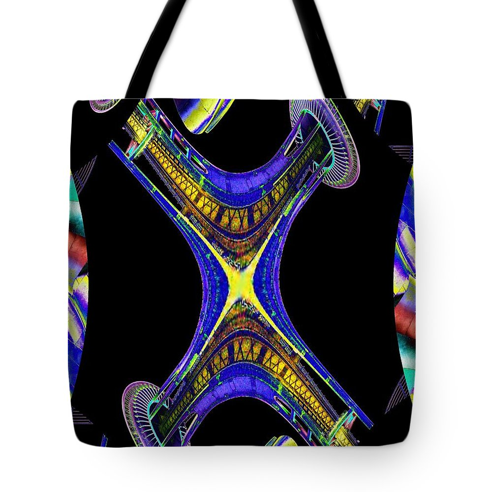 Seattle Tote Bag featuring the digital art Space Needle And The Experience Music Project by Tim Allen