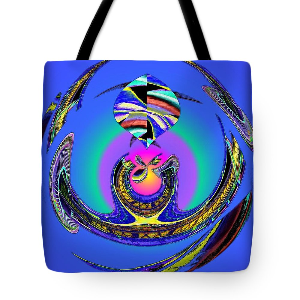 Seattle Tote Bag featuring the digital art Space Needle And The Experience Music Project Two by Tim Allen