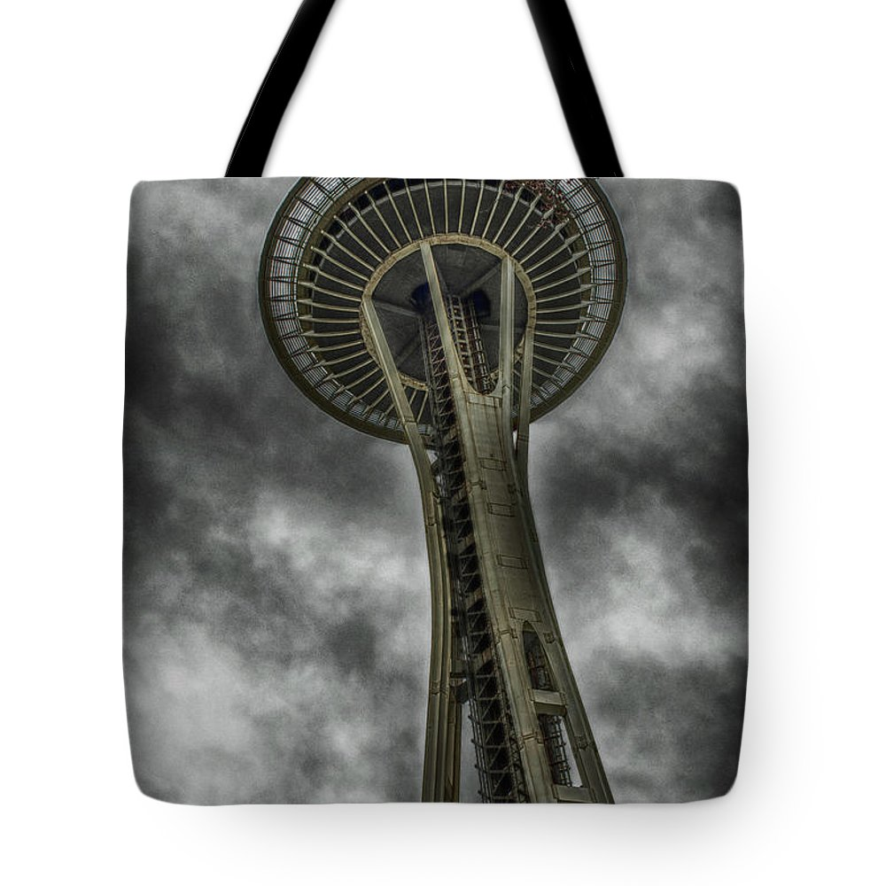 Hdr Tote Bag featuring the photograph Space Needle by Zach Deets