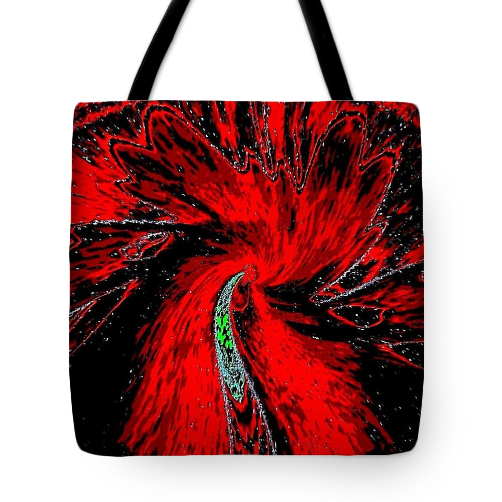 Abstract Tote Bag featuring the digital art Space Poppy by Will Borden