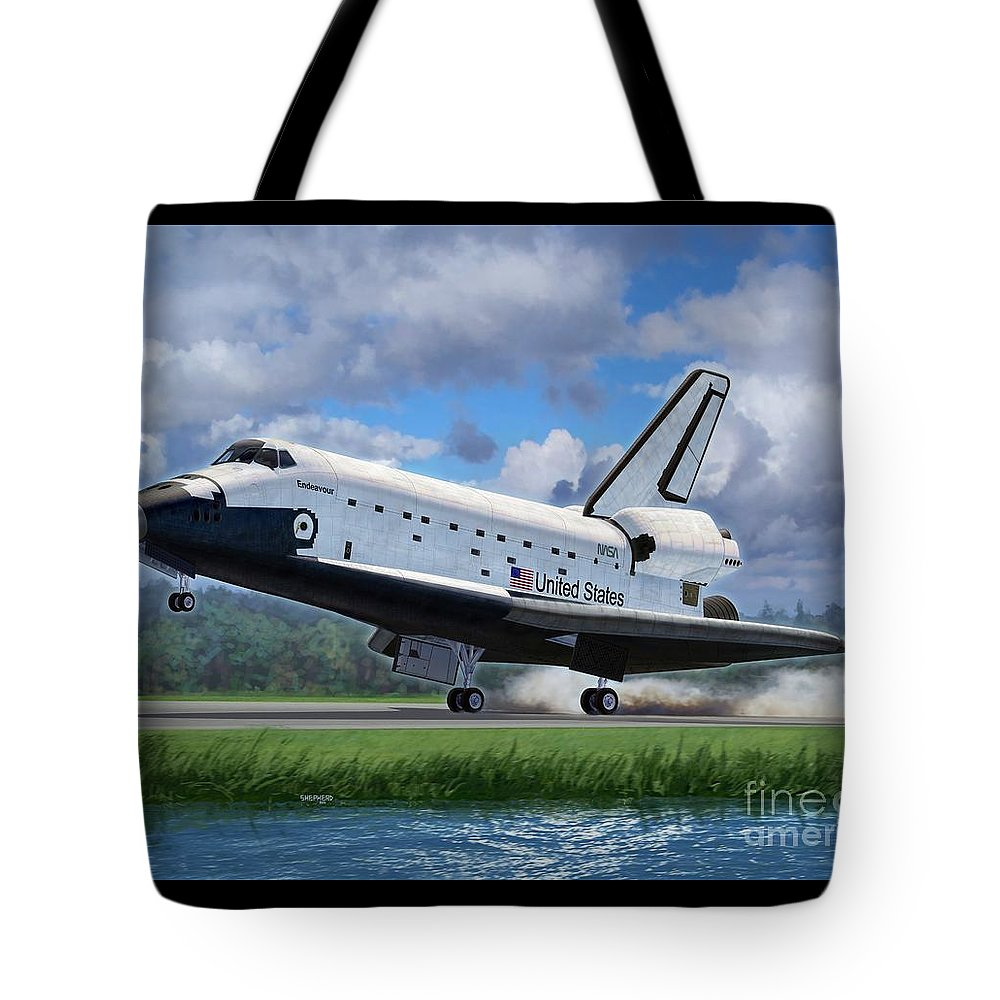 Space Shuttle Tote Bag featuring the digital art Space Shuttle Touchdown by Stu Shepherd