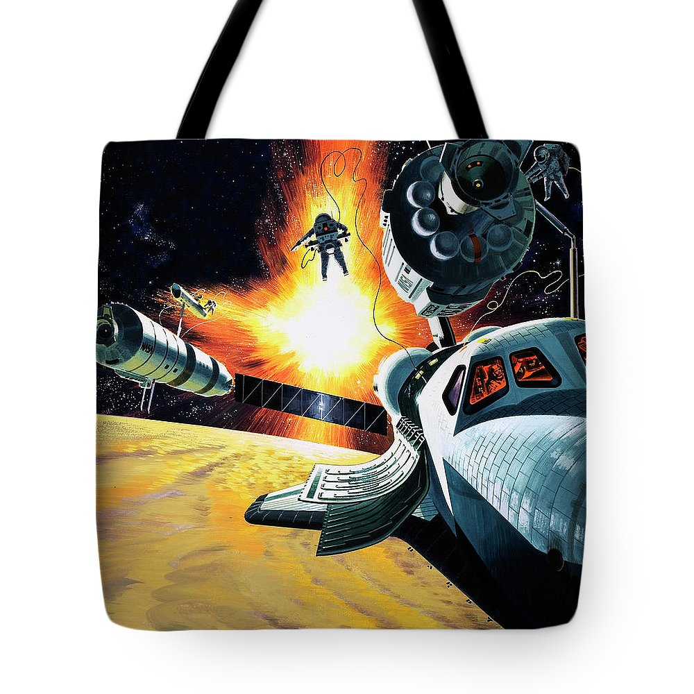 Space Tote Bag featuring the painting Space Shuttle by Wilf Hardy