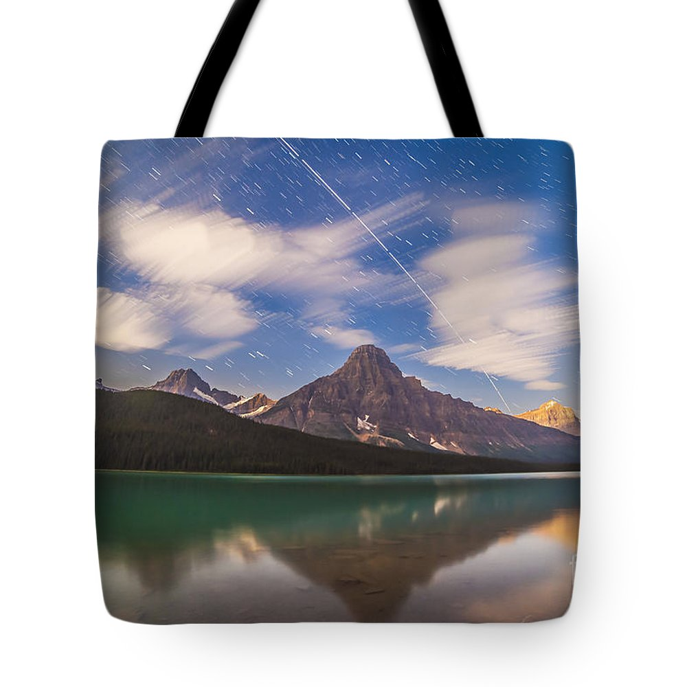 Banff National Park Tote Bag featuring the photograph Space Station Passing West To East by Alan Dyer