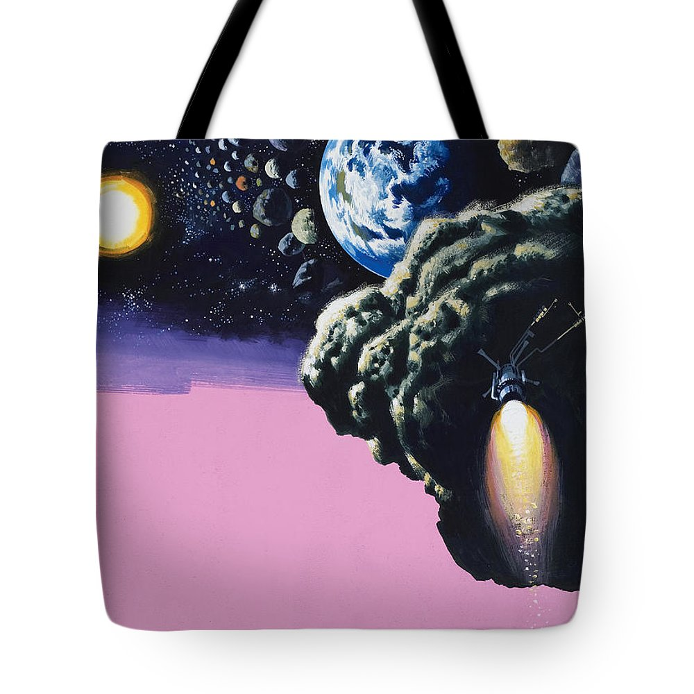 Space;rockets;space Ship;meteorites;planets Tote Bag featuring the painting Space by Wilf Hardy