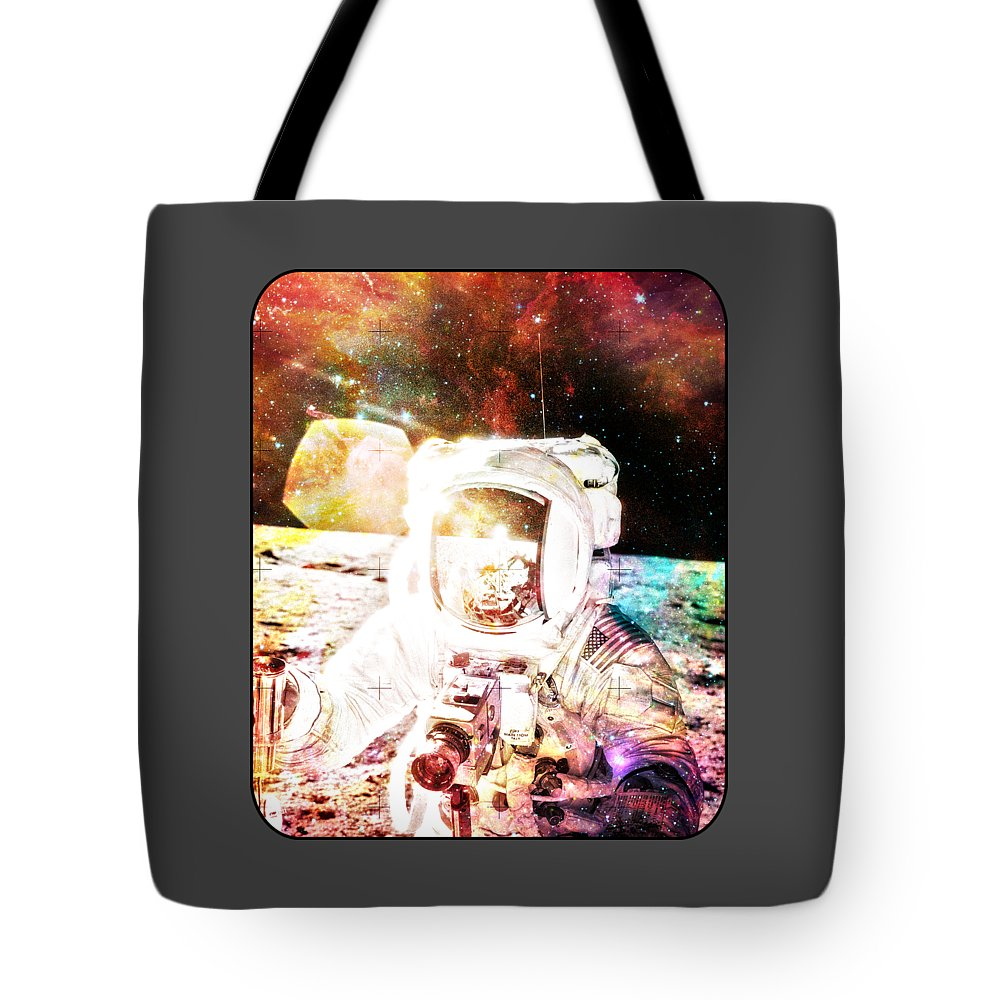 Astronaut Tote Bag featuring the digital art Spaceman by Michelle Murphy