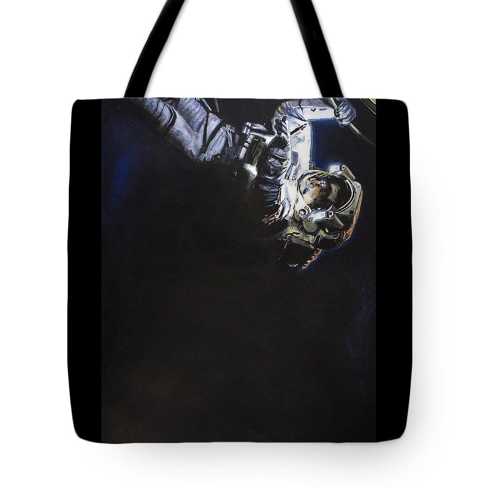 Spacewalk Tote Bag featuring the painting Spacewalk 1 by Simon Kregar