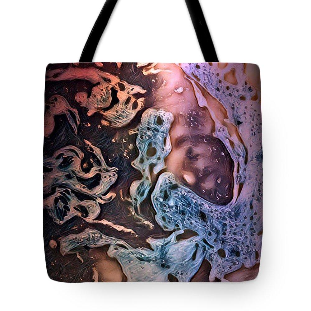 Pop Art Tote Bag featuring the mixed media Spacey by Deborah Selib-Haig DMacq