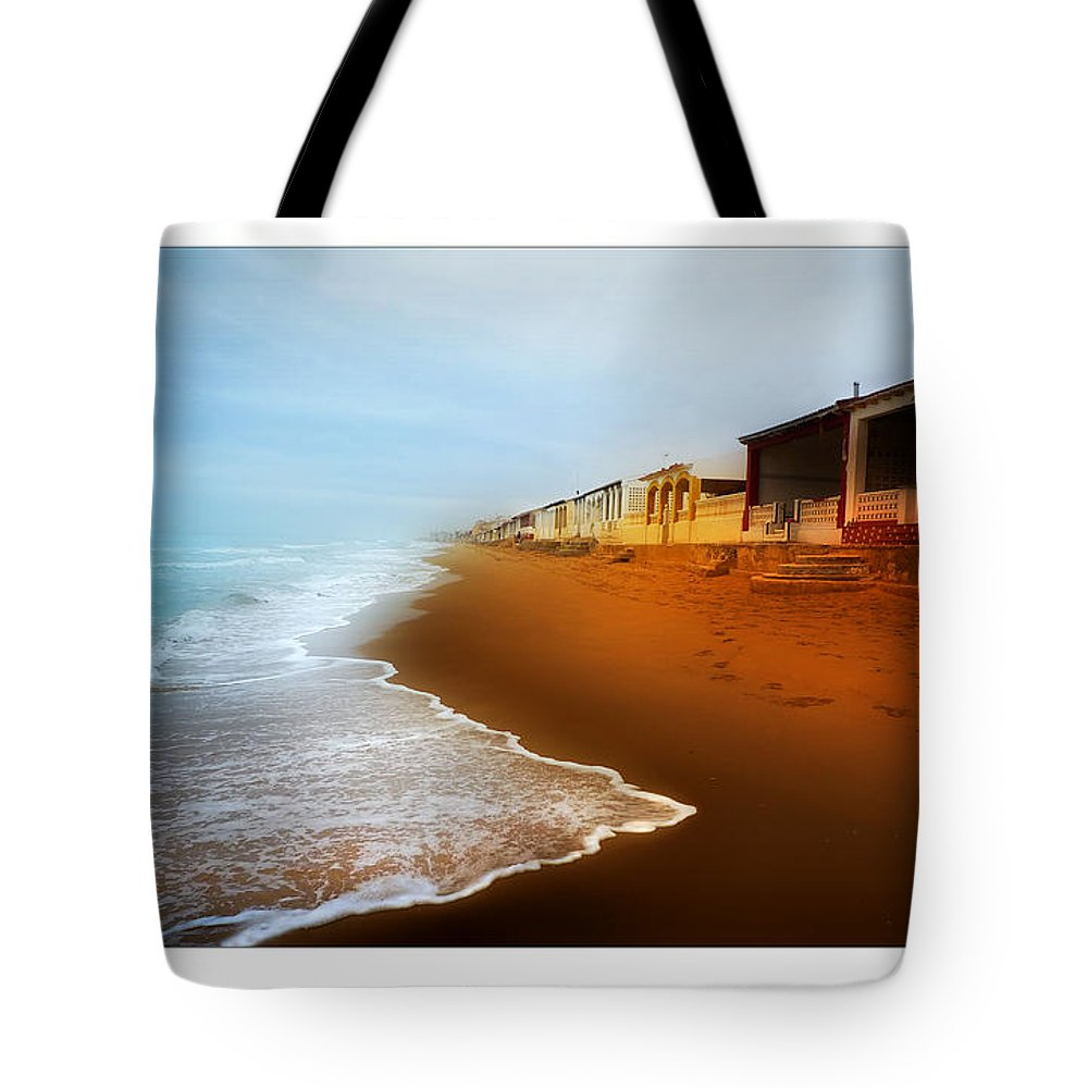 Beach Tote Bag featuring the photograph Spanish Beach Chalets by Mal Bray