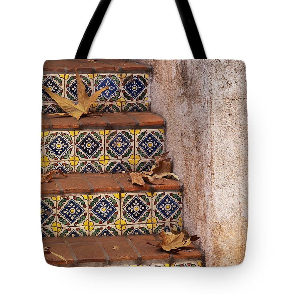Southwest Tote Bag featuring the photograph Spanish Tile Stair by Sandra Bronstein