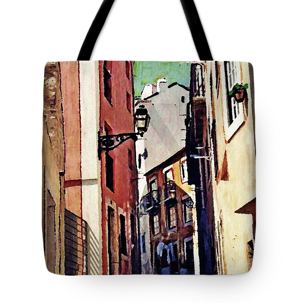 Street Tote Bag featuring the photograph Spanish Town by Sarah Loft