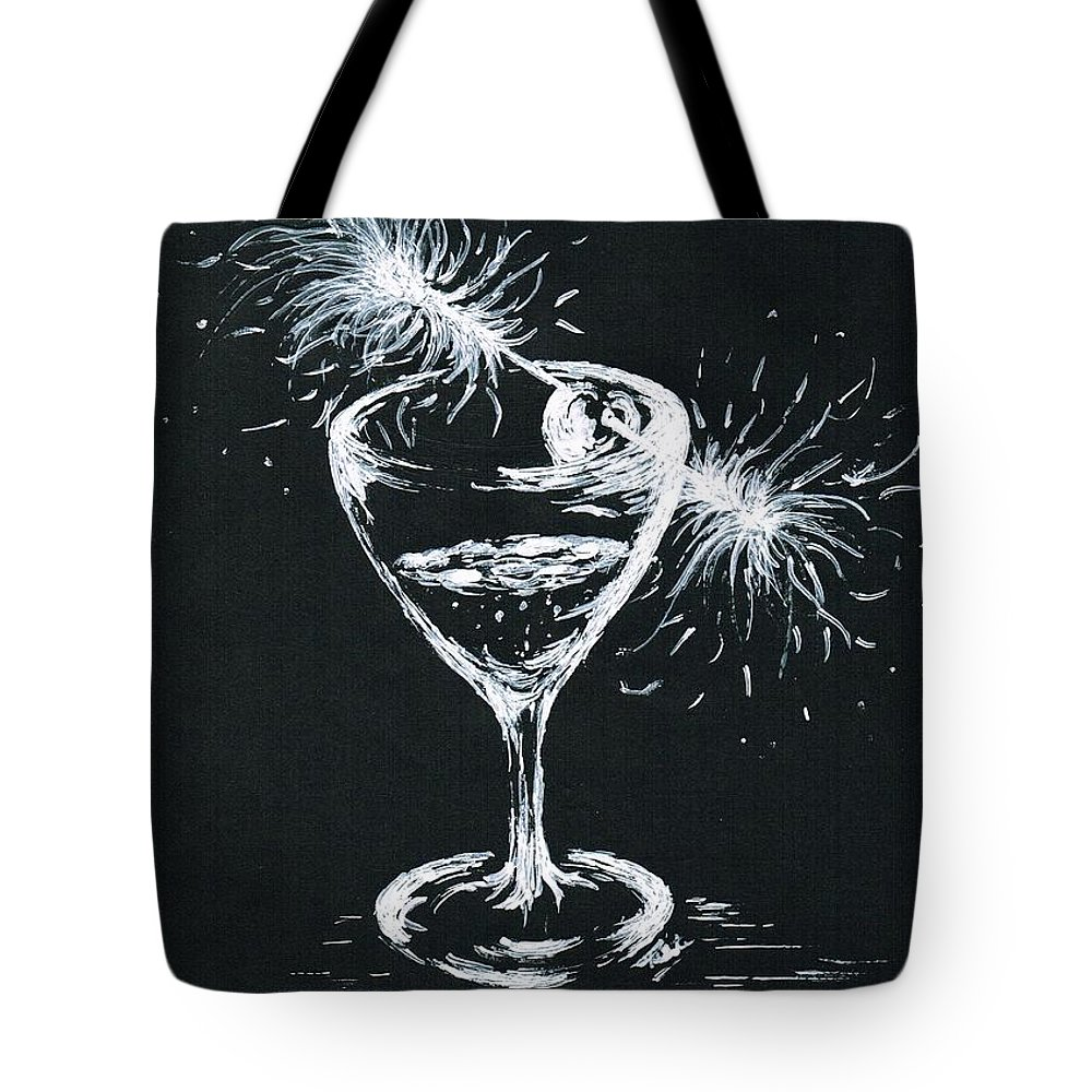 Teresa White Tote Bag featuring the drawing Sparkling Wine by Teresa White