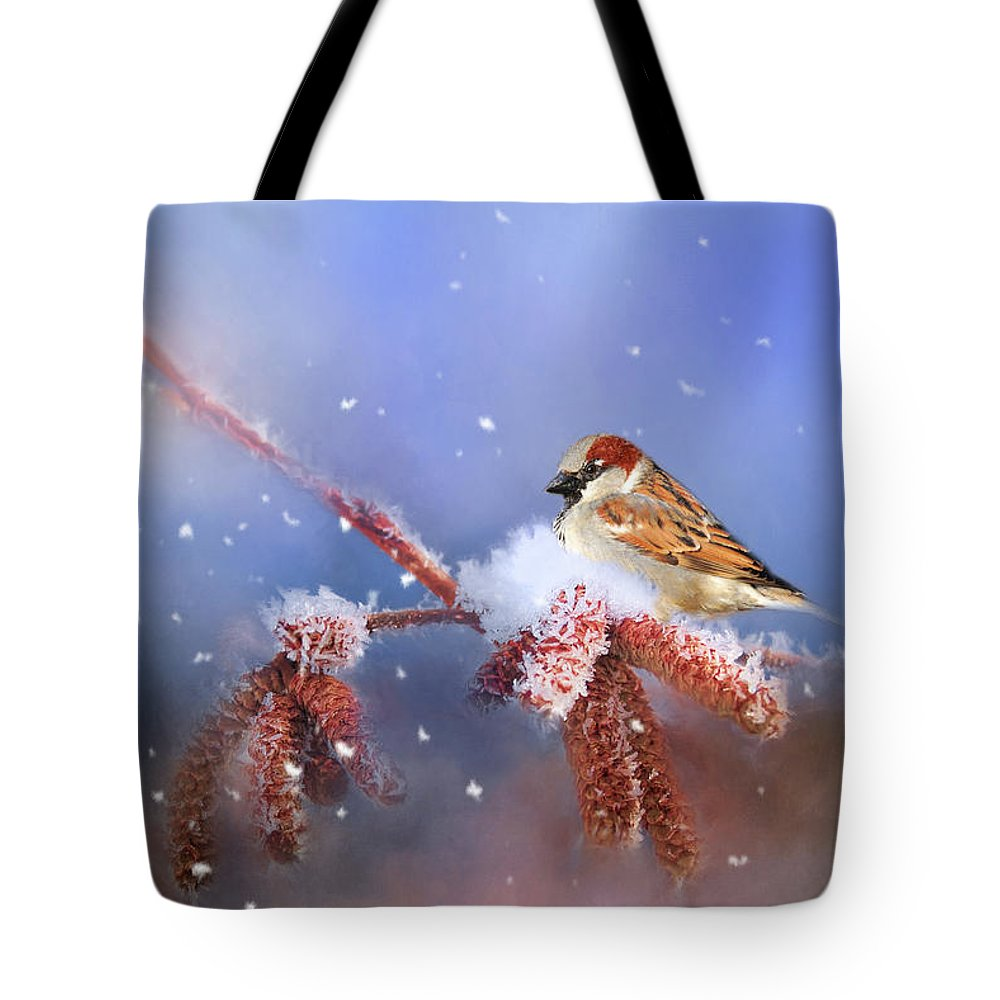 Theresa Tahara Tote Bag featuring the photograph Sparrow In Winter by Theresa Tahara