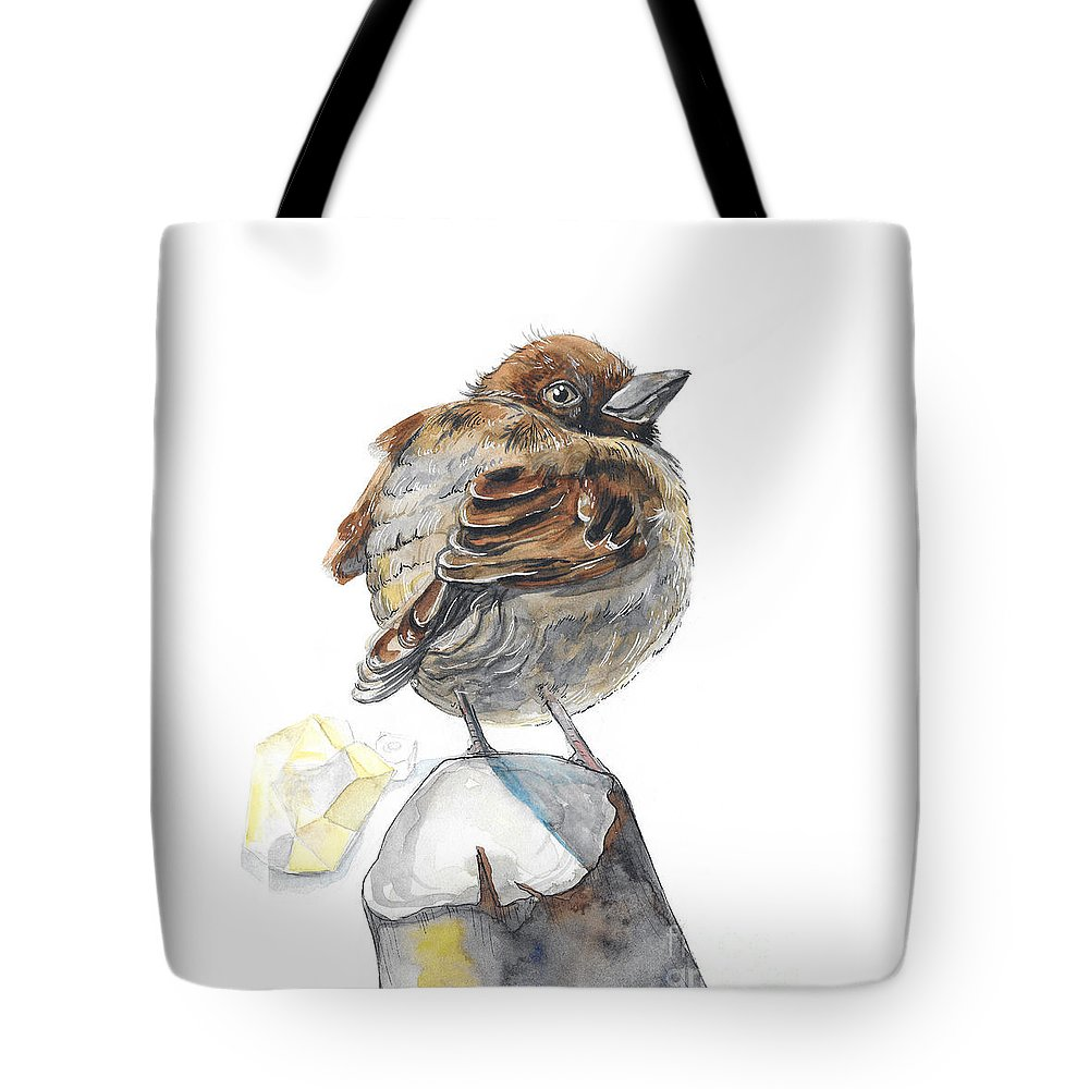 Sparrow Tote Bag featuring the painting Sparrow by Yana Sadykova