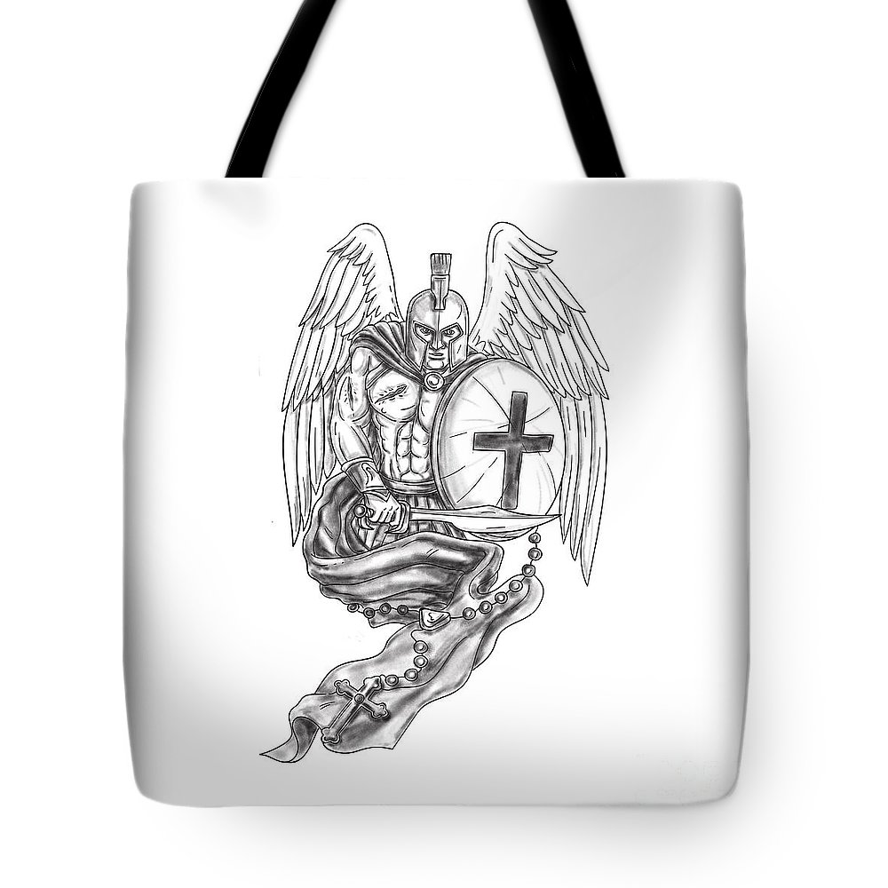 e05628b0ee658  tattoo Tote Bag featuring the digital art Spartan Warrior Angel Shield  Rosary Tattoo by Aloysius