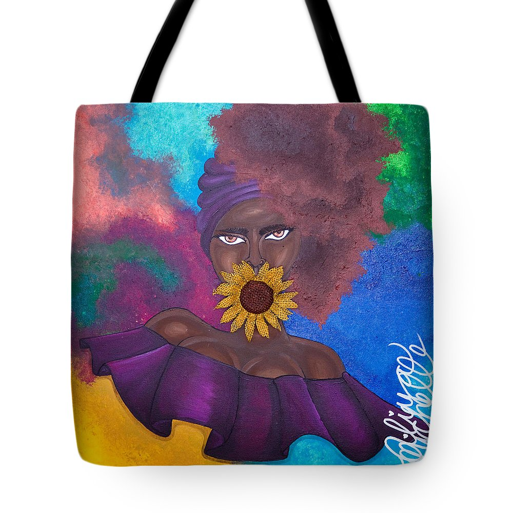 Aliya Michelle Tote Bag featuring the painting Speak No Evil by Aliya Michelle