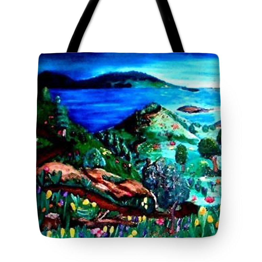 Landscape Tote Bag featuring the painting Special Land by Andrew Johnson