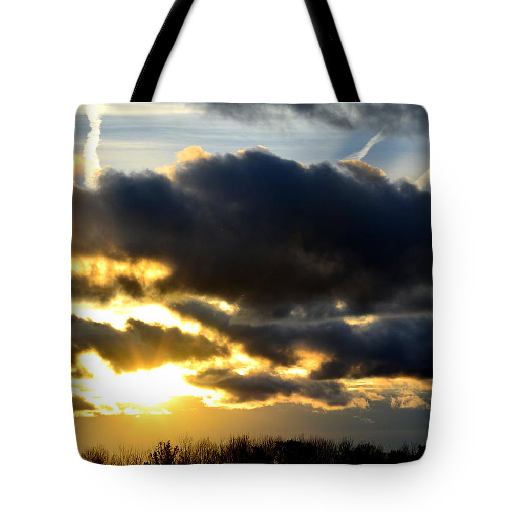 Sunrise Tote Bag featuring the photograph Spectacular Sunrise In Clouds by Reva Steenbergen