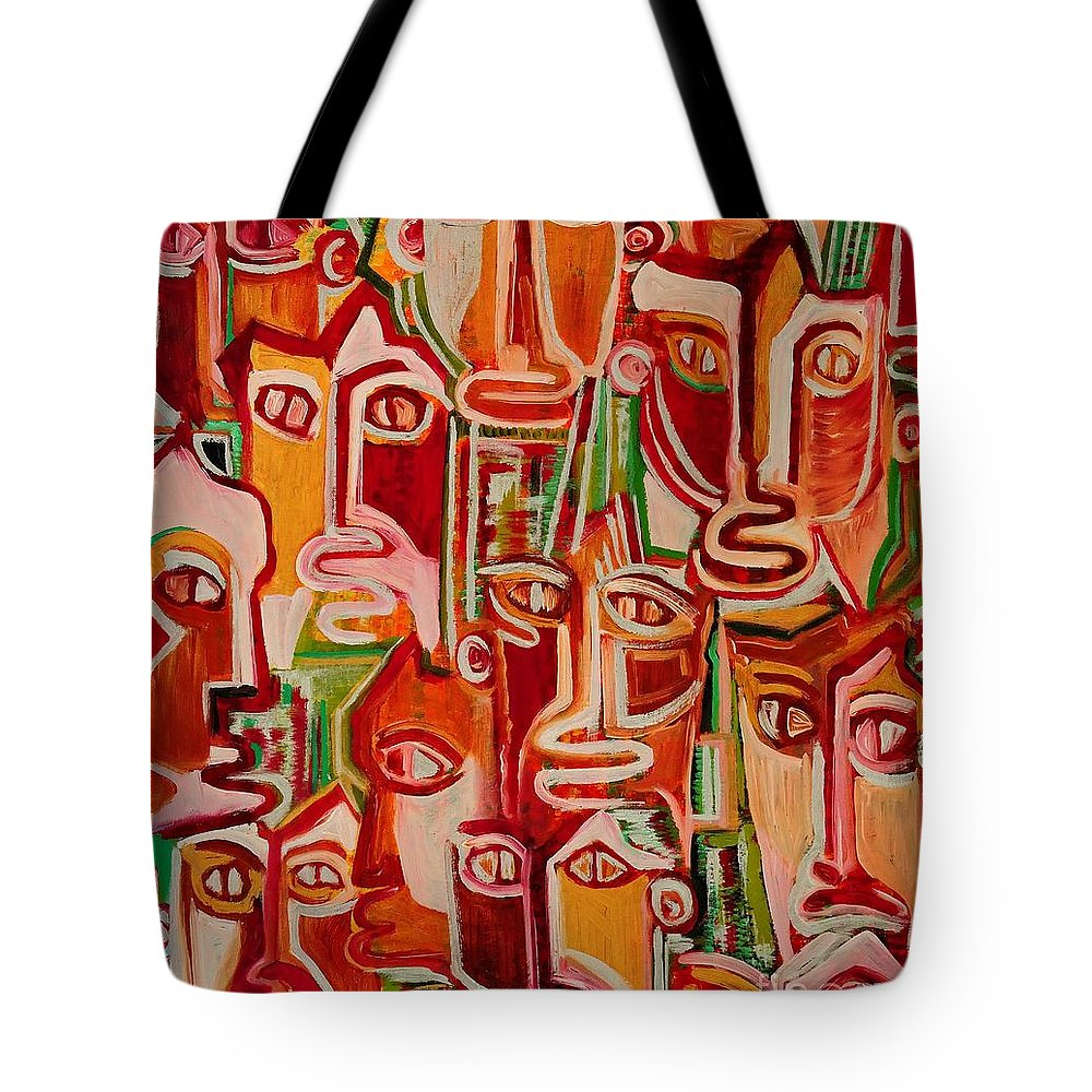 Spectators Tote Bag featuring the painting Spectators. Confident. by Caroline Street