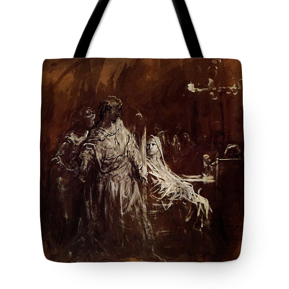 Spectrum Tote Bag featuring the painting Spectrum Appearance Of Banquo by Dore Gustave