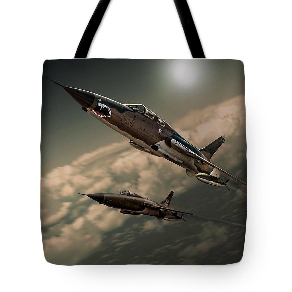 F-105 Tote Bag featuring the digital art Speeding Thuds by Peter Scheelen