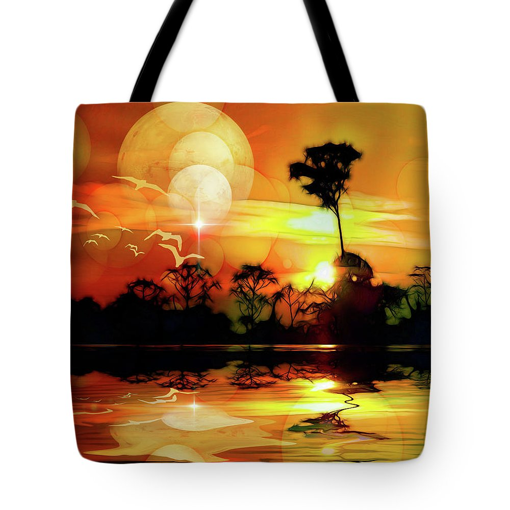 Landscape Tote Bag featuring the digital art Spektrel Reflected 2 by Ombretta Lanari