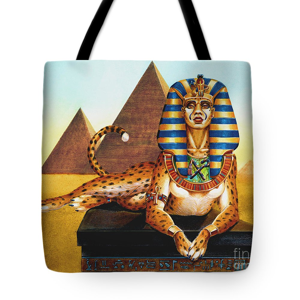 Cat Tote Bag featuring the painting Sphinx On Plinth by Melissa A Benson