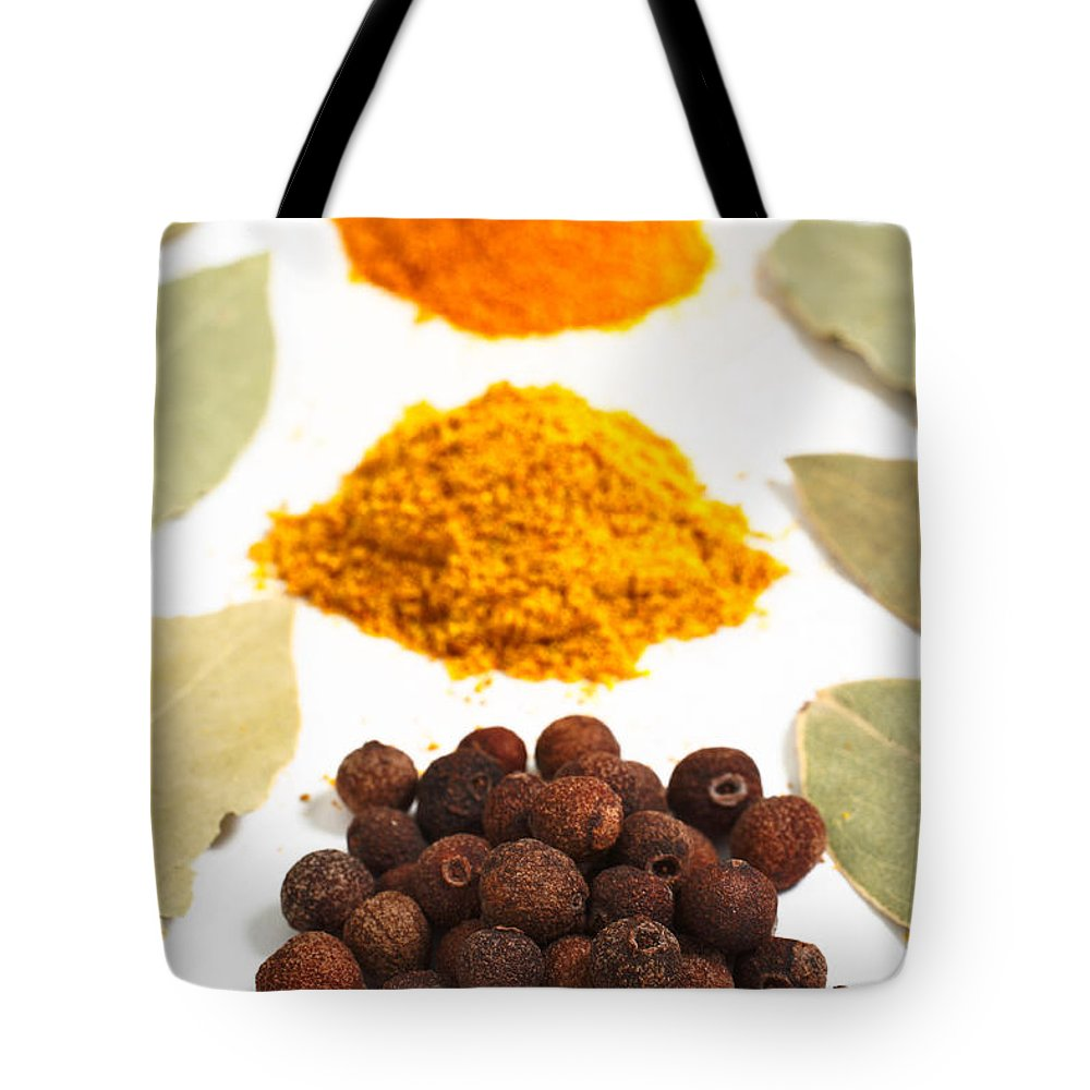 Curry Tote Bag featuring the photograph Spices by Gaspar Avila