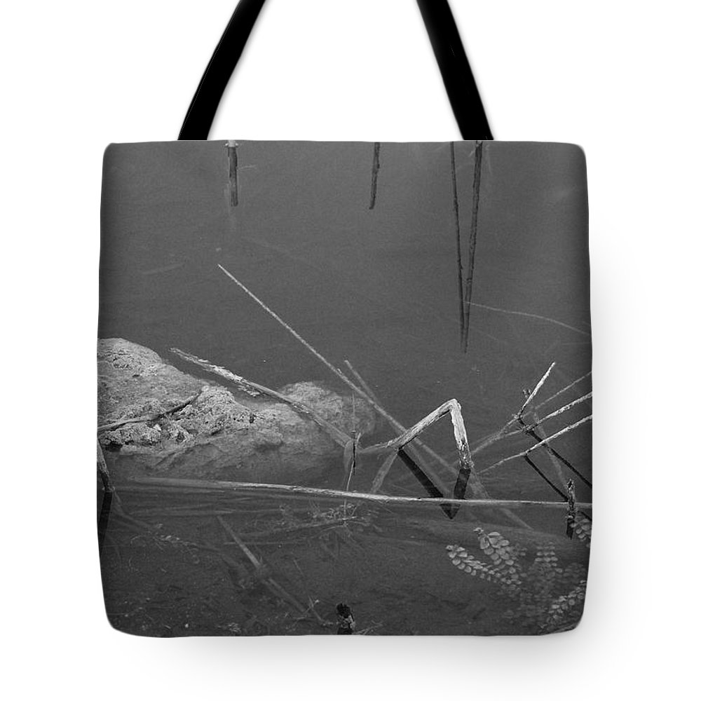 Black And White Tote Bag featuring the photograph Spider In Water by Rob Hans