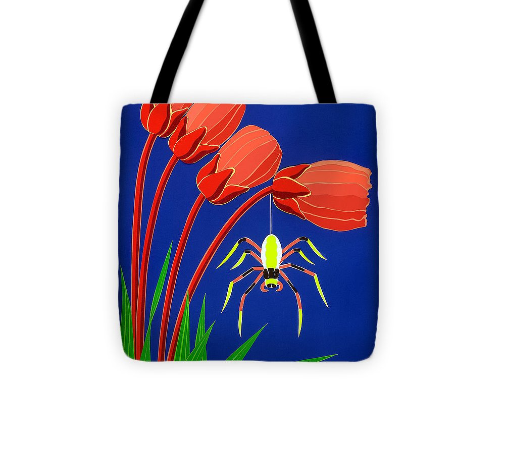 Nature Tote Bag featuring the drawing Spider by Lucyna A M Green