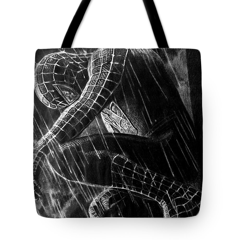 Spider-man Black And White Pencil Fan Art Comic Tote Bag featuring the drawing Spider-man by Stan Antonio
