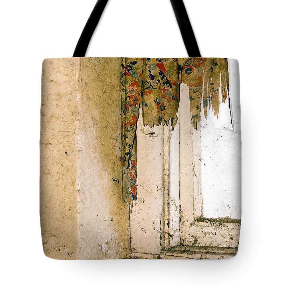 California History Tote Bag featuring the photograph Spider Window by Norman Andrus