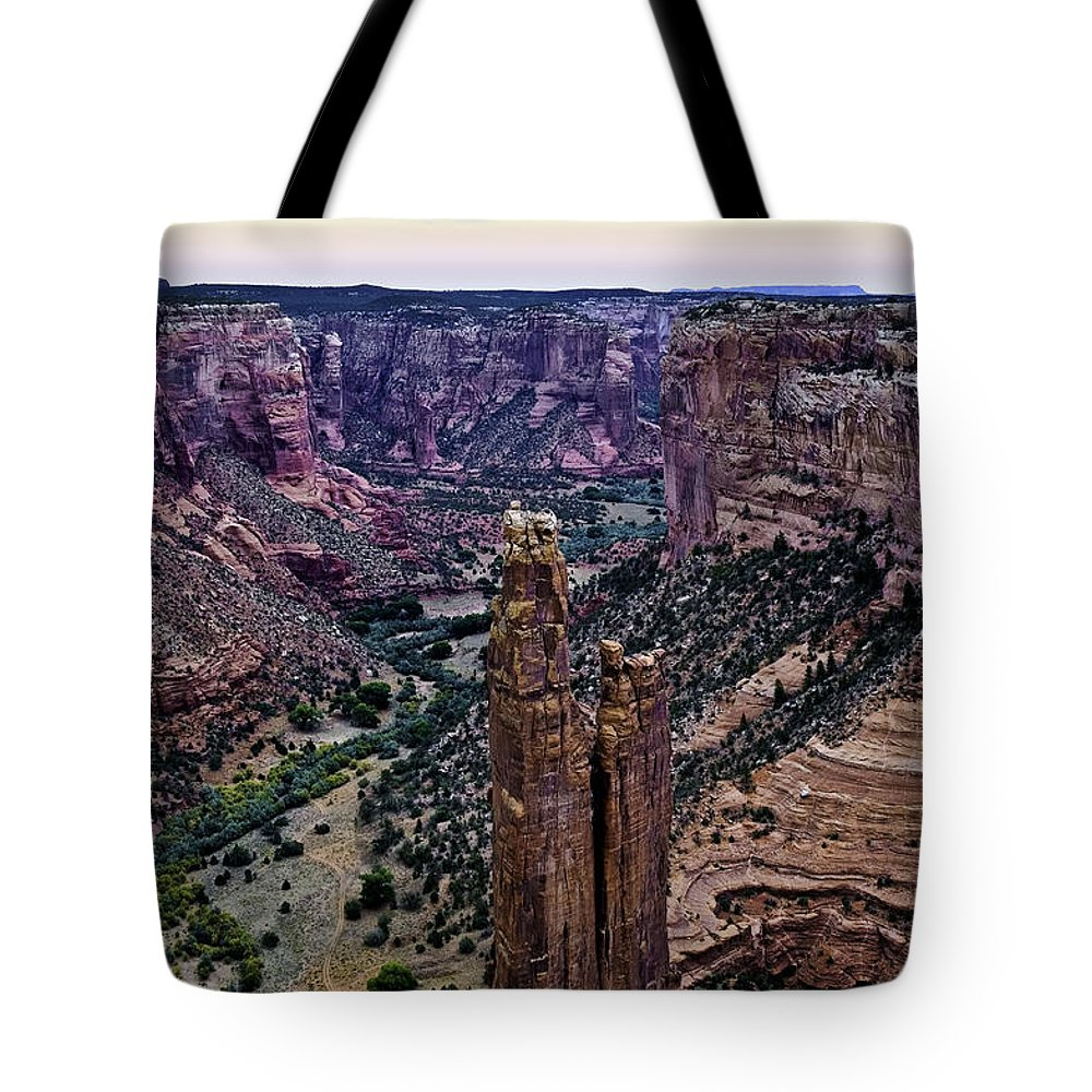 Canyon De Chelly Tote Bag featuring the photograph Spider Woman Rock Three by Paul Basile