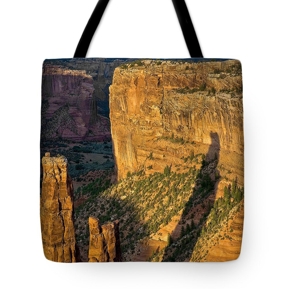 Canyon De Chelly Tote Bag featuring the photograph Spider Woman Rock Two by Paul Basile