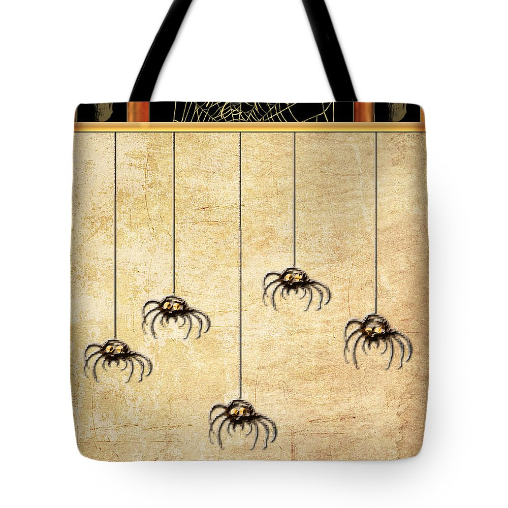 Spider Tote Bag featuring the digital art Spiders For Halloween by Arline Wagner