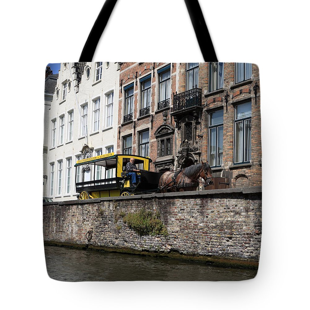 Spieglerei Tote Bag featuring the photograph Spieglerei Canal In Bruges Belgium by Louise Heusinkveld