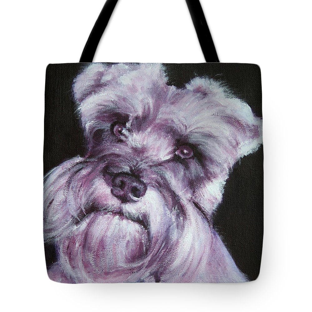 Schnauzer Tote Bag featuring the painting Spike by Fiona Jack