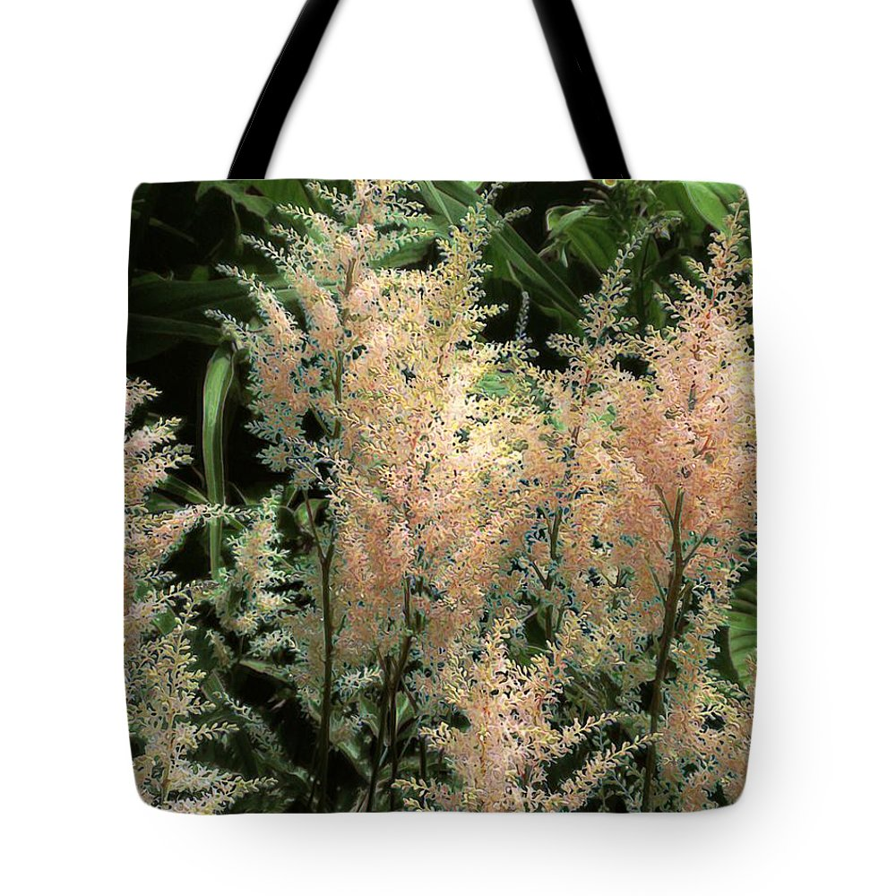 Astilbe Tote Bag featuring the painting Spikes Sunkissed by RC DeWinter