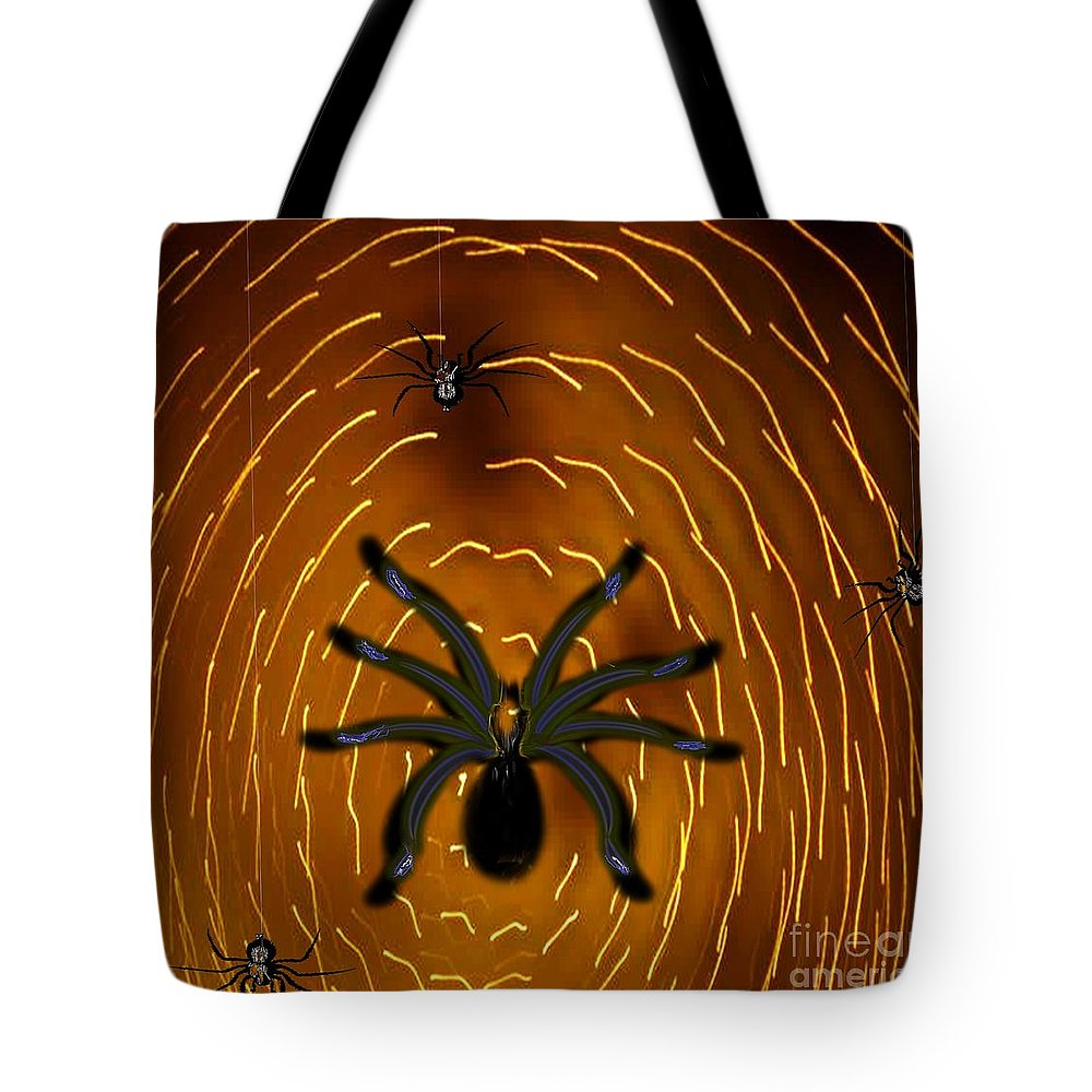 Insects Tote Bag featuring the painting Spin A Mighty Web by Belinda Threeths