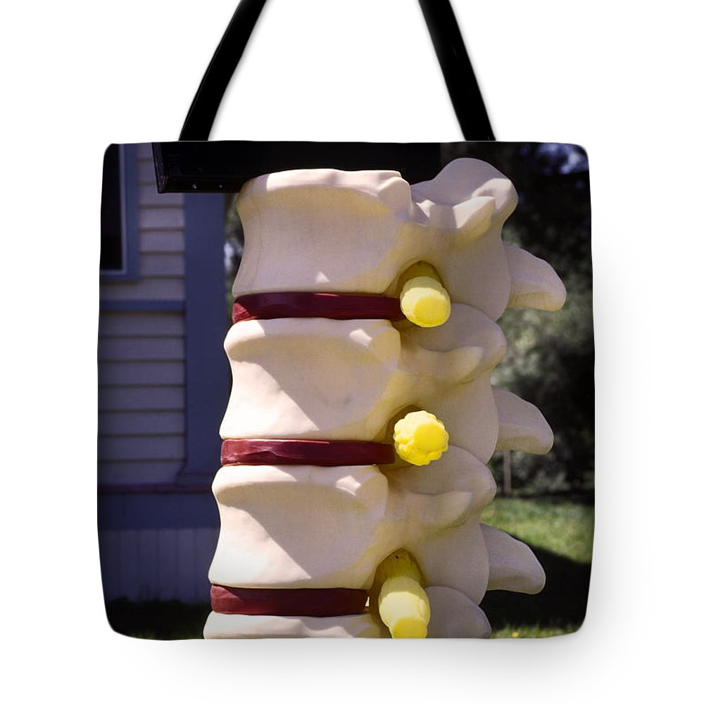 Spinal Vertebrae Mailbox Stand Tote Bag featuring the photograph Spine Mailbox by Sally Weigand