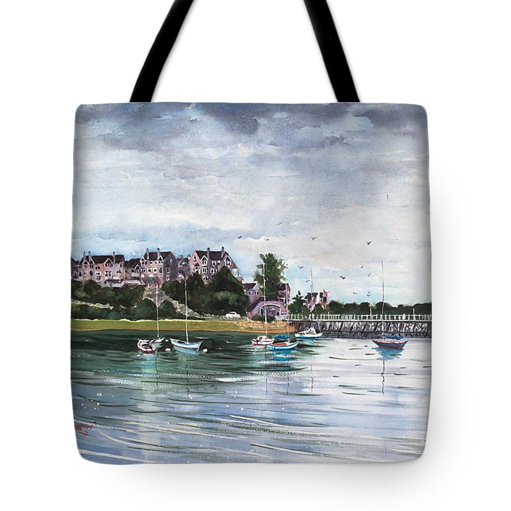 Watercolor Painting Tote Bag featuring the painting Spinnaker Island by Laura Lee Zanghetti