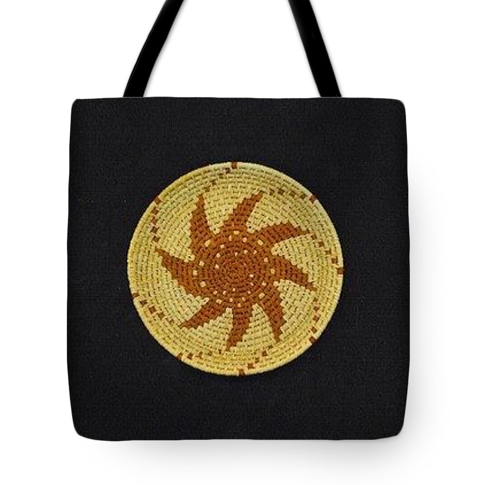 Basket Tote Bag featuring the mixed media Spinning Star Double Mini Plate Basket by Darlene Ryer