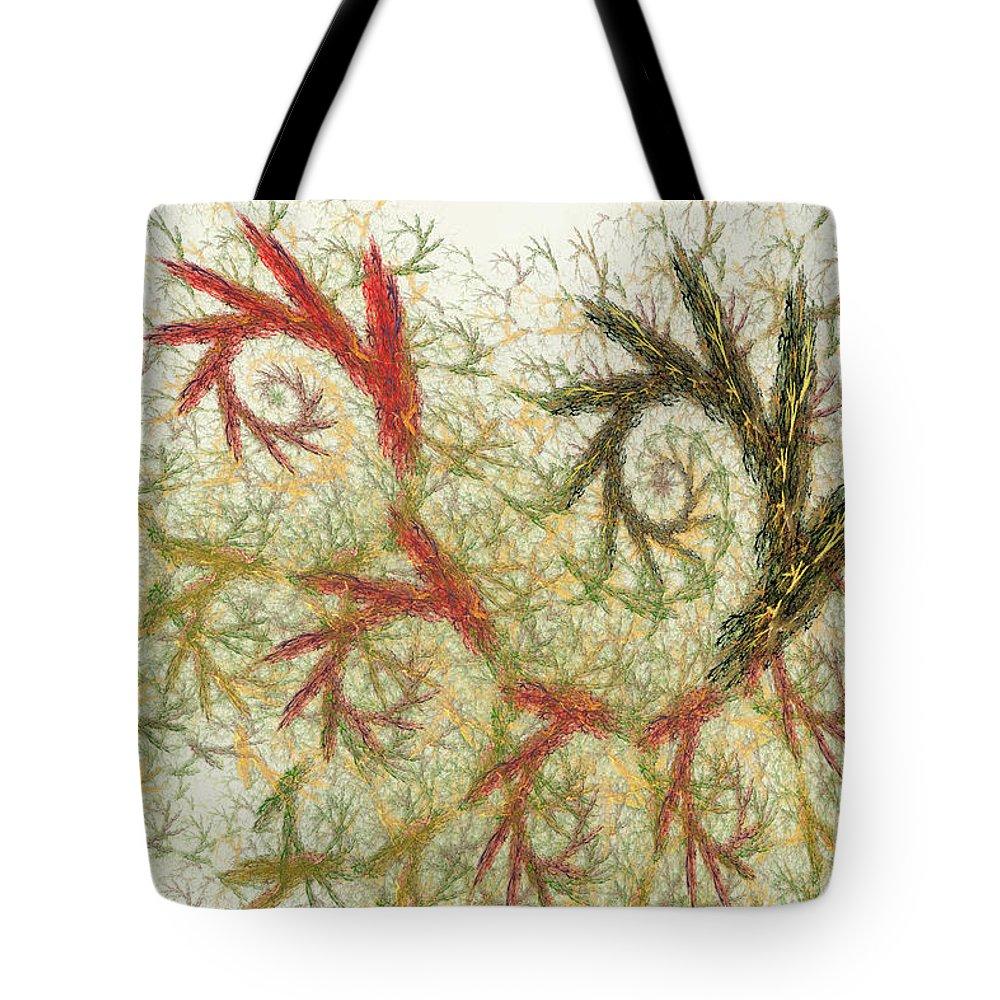 Digital Tote Bag featuring the digital art Spiral Embroidery by Deborah Benoit