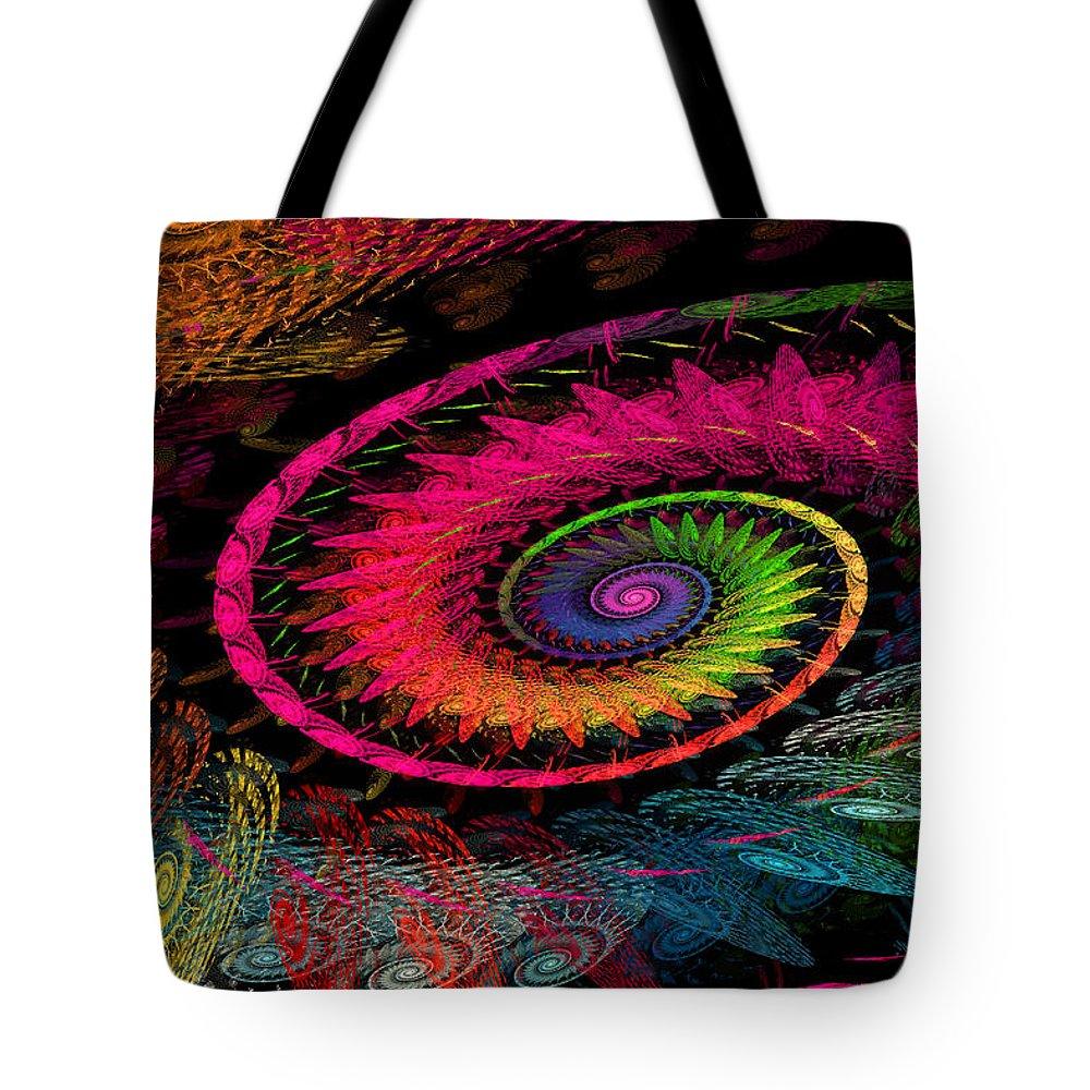 Elena Riim Tote Bag featuring the digital art Spiral In Spirals. by Elena Riim
