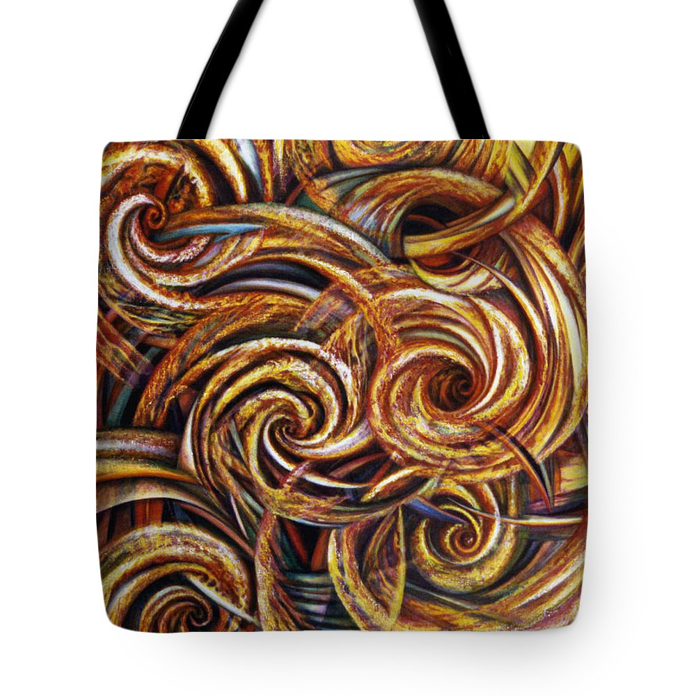Spiritual Tote Bag featuring the painting Spiral Journey by Nad Wolinska