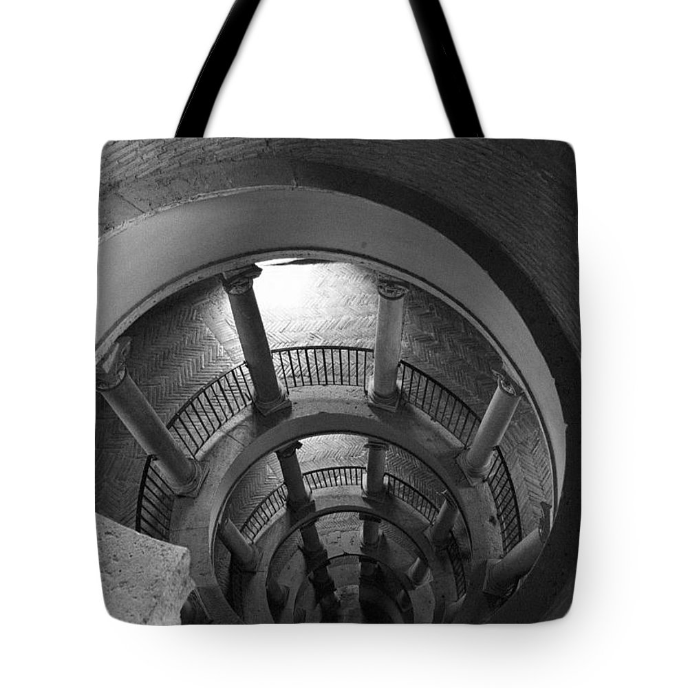 Spiral Staircase Tote Bag featuring the photograph Spiral Staircase by Donna Corless